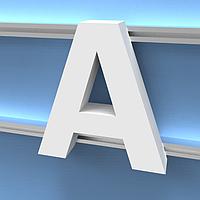 Монтаж объемных букв на направляющий профиль