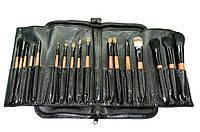Полупрофессиональный набор натуральных кистей для макияжа 18 шт. в кожаном чехле, фото 1