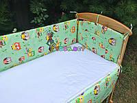 """Защита для детской кроватки 120х60 см, """"Совушки"""" салатовая, фото 1"""
