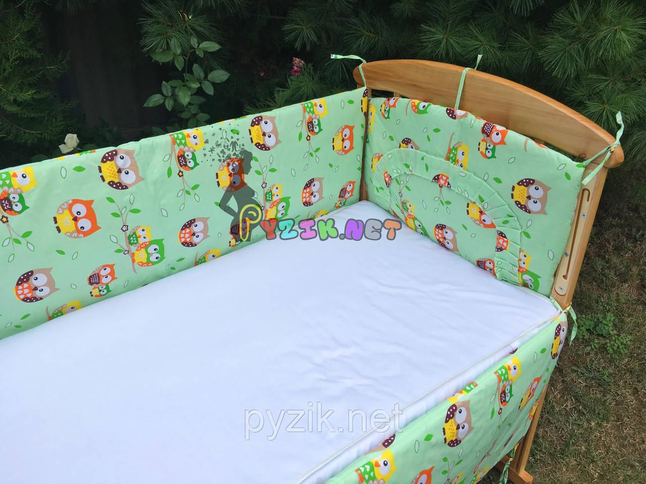 """Защита для детской кроватки 120х60 см, """"Совушки"""" салатовая"""