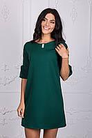 Платье с рукавом волан зелёного цвета 110