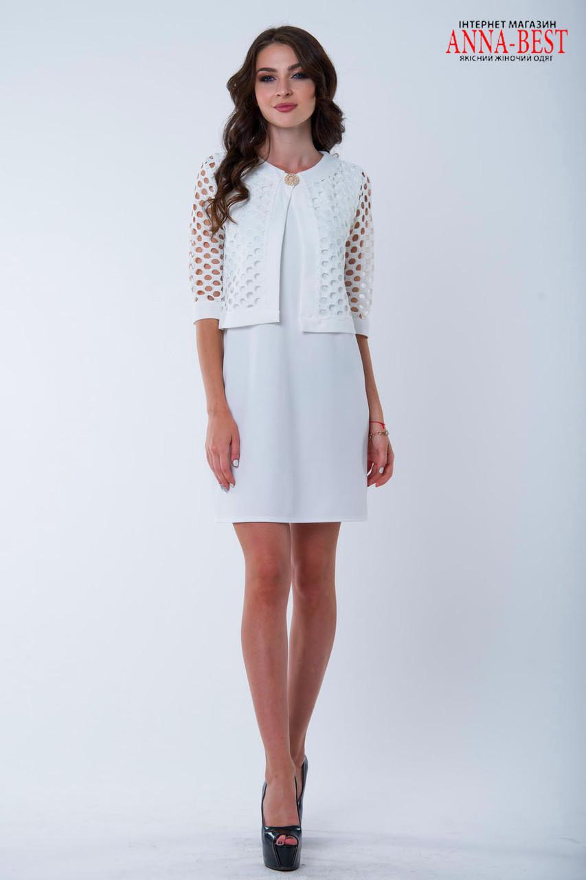 Платье с накидкой белое
