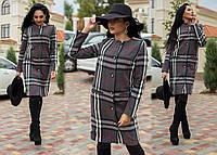 """Элегантное женское пальто средней длины 255 """"Кашемир Барберри Кармашки Пуговицы"""" в расцветках"""