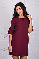 Красивое короткое платье бордового цвета 110-1