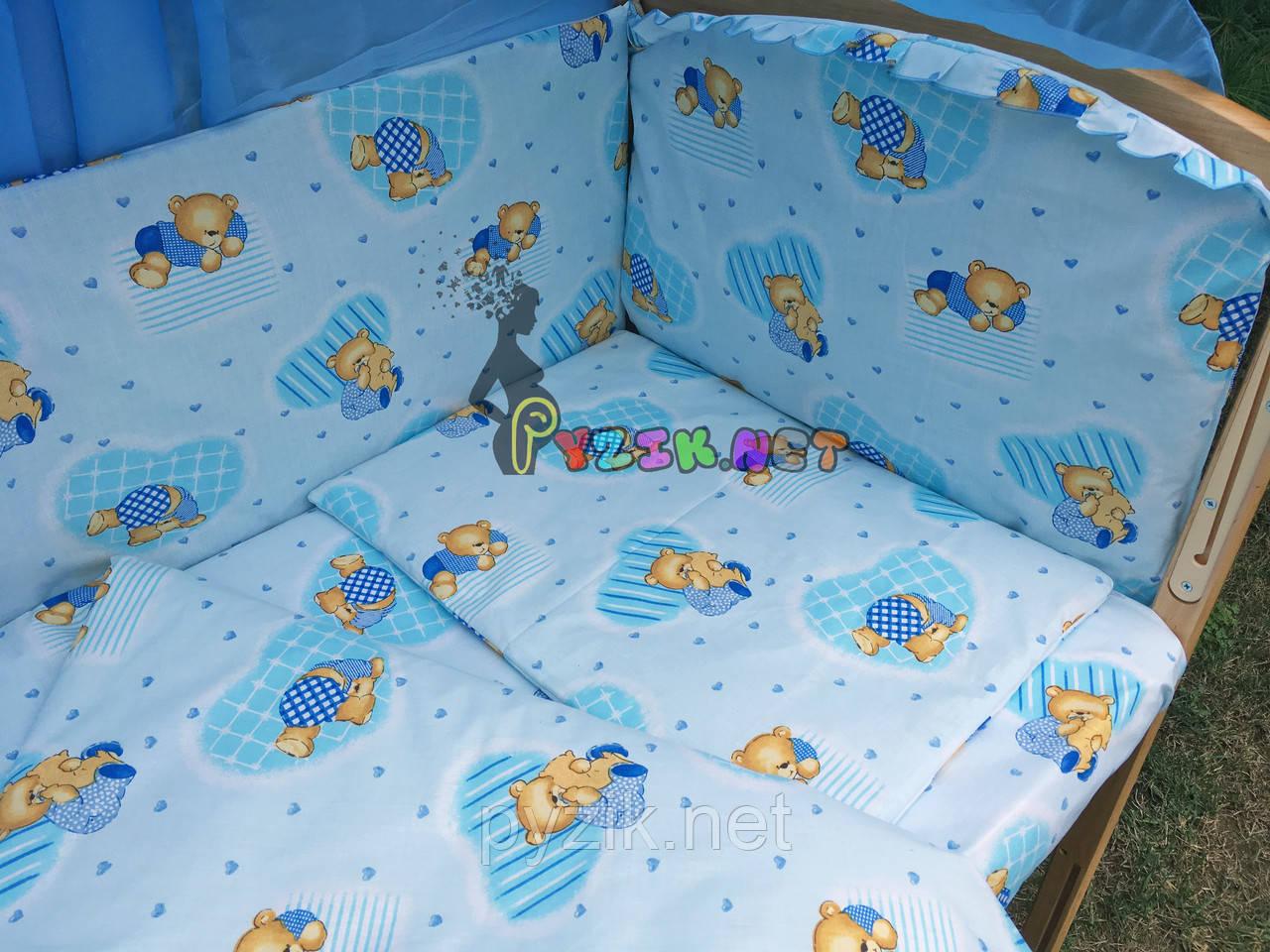 """Постельный набор в детскую кроватку (8 предметов) Premium """"Мишки в пижамке"""" нежно-бирюзовый"""