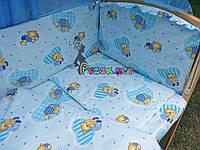 """Постельный набор в детскую кроватку (8 предметов) Premium """"Мишки в пижамке"""" нежно-бирюзовый, фото 1"""
