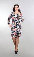 """Стильное женское платье приталенного кроя """"хлопок+стрейч костюмная"""" 48, 54, 56 размер батал"""