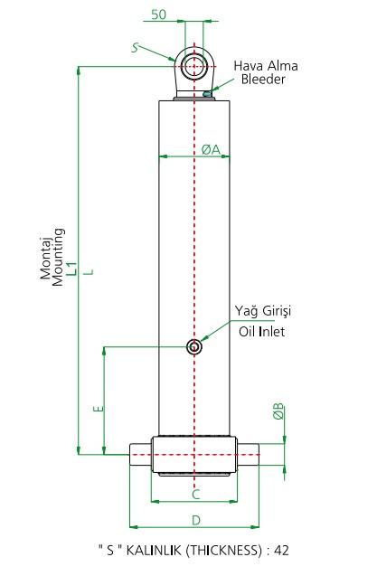 Гидроцилиндр 4-х штоковый (длина 1 штока 1342 мм)тип С - Гидролидер Гидравлика - Установка гидравлического оборудования, комплекты гидравлики в Киеве