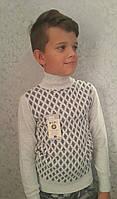Красивый свитер для мальчиков 116,128,140,152,164 роста Воротник стойка
