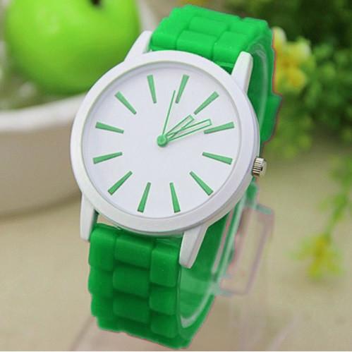 Женские часы силиконовые Geneva Montre Green зеленые