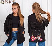 Женская джинсовая удлиненная куртка