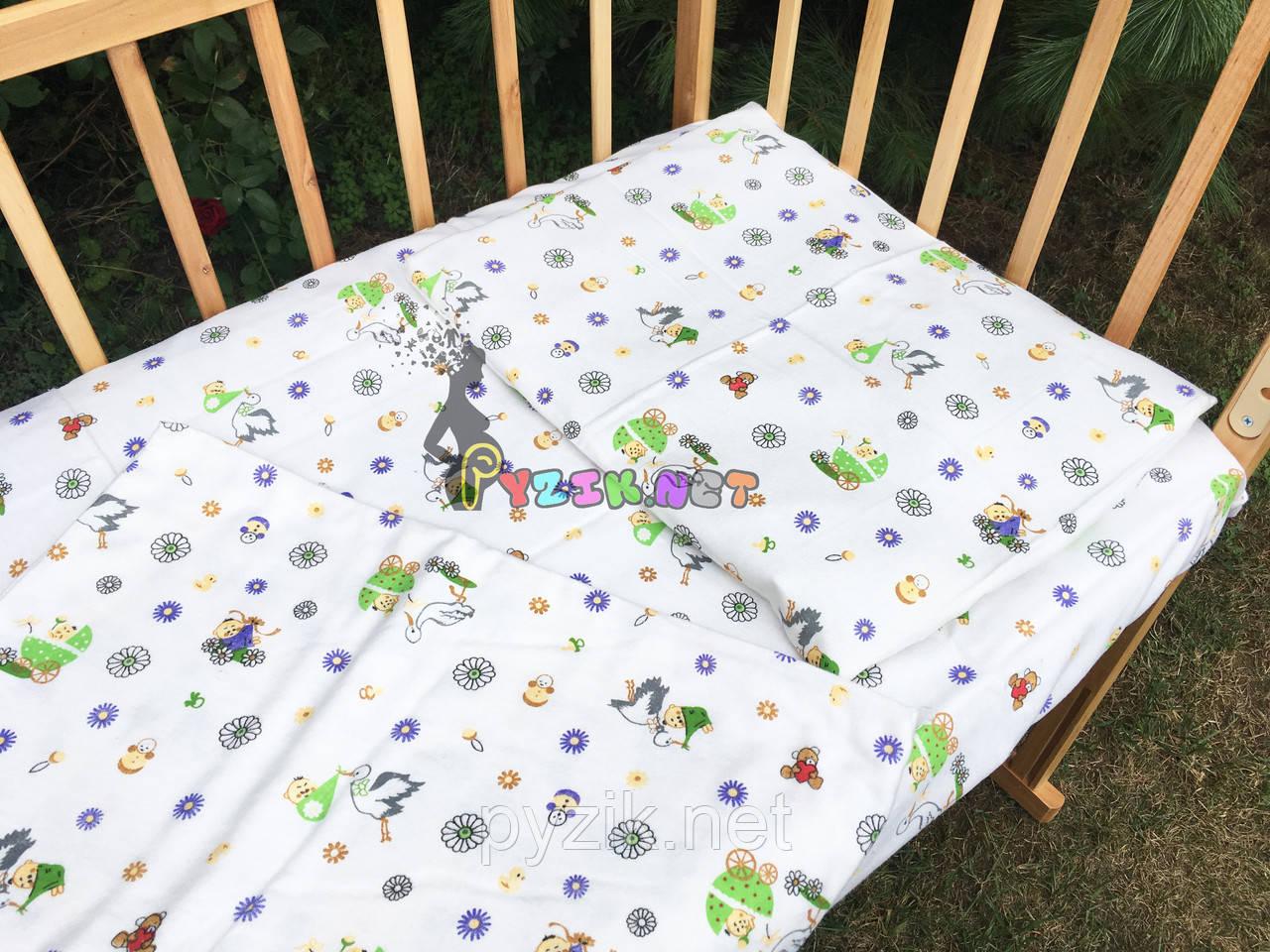 Постельный набор в детскую кроватку Байка (3 предмета) Аист с малышом