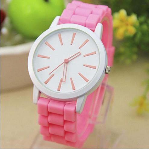 Женские часы силиконовые Geneva Montre Rose розовые