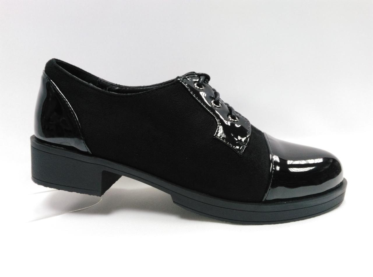 Чорні замшеві туфлі на підборах. Маленькі розміри (33 - 35).