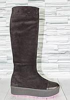 Cапоги из натуральной замши. Комфорт с кожаным носком. 1509