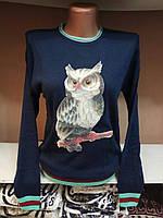 Оригинальный вязаный свитер с совой