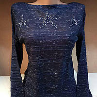 Вязаный комбинированный свитер со звездами