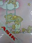 Простынь на резинке в детскую кроватку «Мишки на лестнице» розового цвета, фото 2