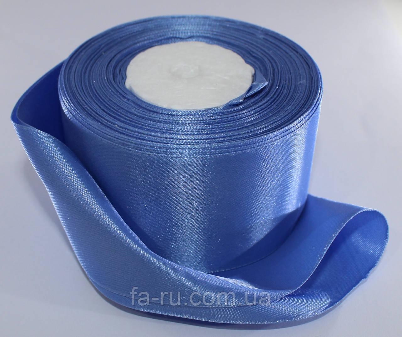 Лента атласная. Цвет - джинсовый. Ширина - 5 см, длина - 23 м