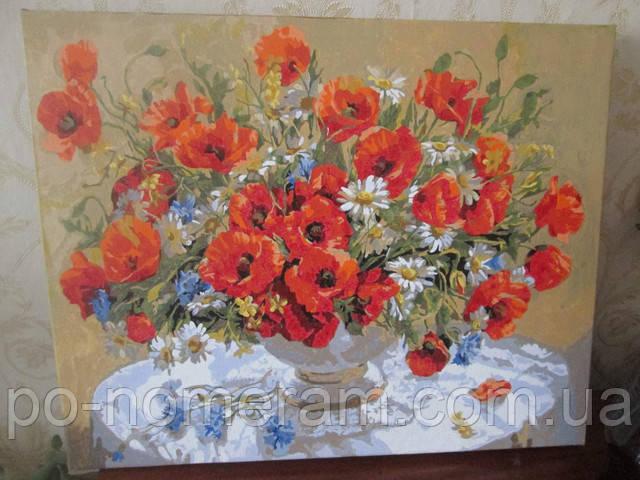 Нарисованная картина по номерам Маки в вазе
