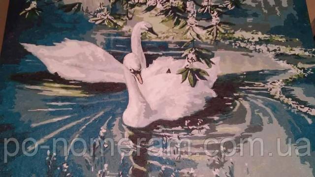 Нарисованная картина по цифрам Пара лебедей