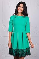 Осеннее платье красивого мятного цвета 111-2