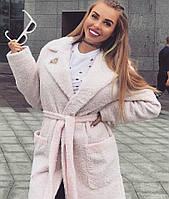 Стильное женское пальто нежный кашемир букле с фирменным шевроном, цвет нежно розовый