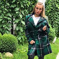 Стильное женское пальто ТМ DORATTI шерстяное итальянское букле , цвет зеленый