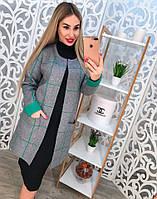 Женский кардиган машинная вязка в клеточку с карманами, цвет серый