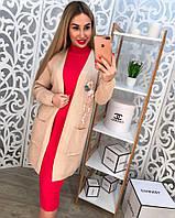 Женский кардиган машинная вязка с карманами, декорирован красивой вышивкой, цвет бежевый