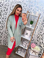 Женский кардиган машинная вязка с карманами, декорирован красивой вышивкой, цвет серый