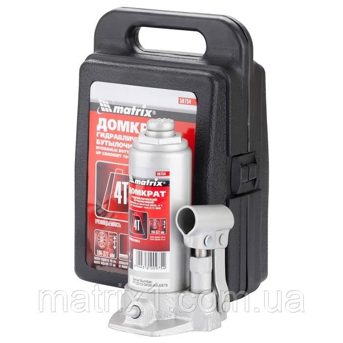 Домкрат гидравлический бутылочный, 5 т, h подъема 216–413 мм, в пласт. кейсе// MTX MASTER