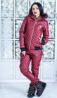 Зимний костюм moschino внутри на силиконе, на капюшоне мех натуральный. Цвет бордовый