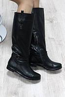 Зимние кожаные сапоги черные с широкой голенью