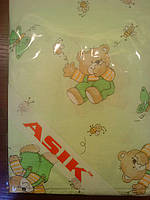 Простынь в детскую кроватку «мишки с медом» салатового цвета №87