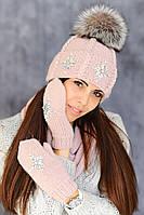 """Пудровый зимний комплект шапка с варежками и хомутом """"Эльза"""""""