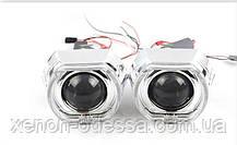 """Маска для ксеноновых линз 3.0"""" : BMW F-Style G137 CREE White+Yellow со светодиодными Ангельскими Глазами CREE, фото 2"""