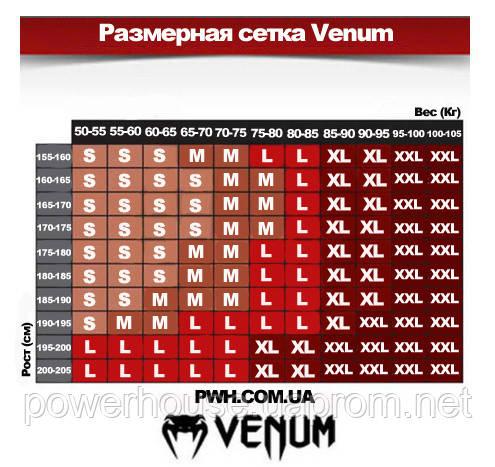 Размерная таблица спортивных футболок и рашгардов Venum