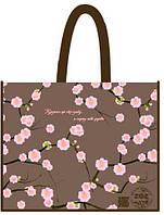 """Эко-сумка 34,5*41,5*12см """"Цветы (сакура веточки, коричневая)"""", 838018"""