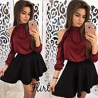 Бордовая блуза из шелка с длинным рукавом