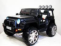 Детский электромобиль M777MM, автопокраска, кожа, полный привод, чёрный