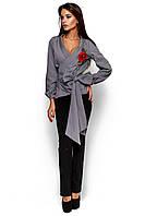 Жіноча сіра блузка з вишивкою Bruklin