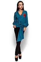 Жіноча темно-бірюзова блузка з вишивкою Bruklin