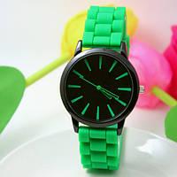 Женские часы силиконовые Geneva Casual Green зеленые