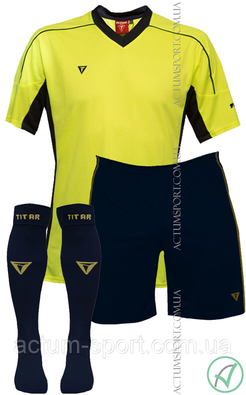 Футбольная форма Mriya 2 с гетрами Titar Лимон/т.синий, L