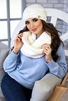 Зимний женский комплект «Денвер» (шапка и шарф-снуд) Белый