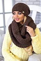 Зимний женский комплект «Денвер» (шапка и шарф-снуд) Светло-коричневый