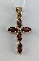 Крест с гранатом золотой, 585 проба