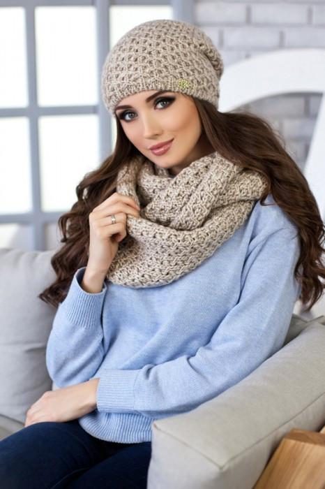 Зимний женский комплект «Денвер» (шапка и шарф-снуд) Светлый кофе
