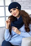 Зимний женский комплект «Денвер» (шапка и шарф-снуд) Джинсовый